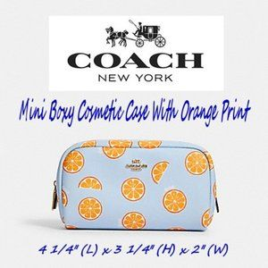 Coach Mini Boxy Cosmetic Case With Orange Print